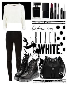 """Black & White"" by alinka-titova ❤ liked on Polyvore featuring NARS Cosmetics, Smashbox, MAC Cosmetics, Diesel, WithChic, Narciso Rodriguez, Christian Dior, MICHAEL Michael Kors and plus size clothing"