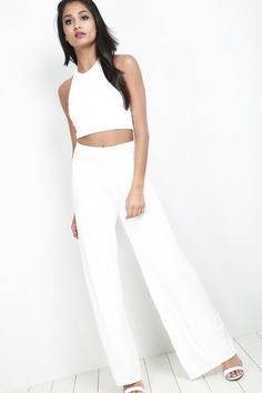 938383b9d001b We are totally lovin  basic crop top coord set! Featuring an halterneck crop  top