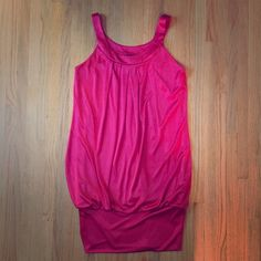 "REDUCED HOT pink / Red summer banded dress SALE Excellent used condition!  Worn once!  HOT pink/ can also look red.  Pleated front and Banded bottom dress.  Can be worn as a dress or with leggings!  Measures 35"" from shoulder to bottom.  Size Medium. Iz Byer Dresses"