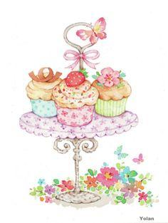 New ideas for birthday cake illustration sweets Cupcake Illustration, Birthday Cake Illustration, Cupcake Kunst, Cupcake Art, Cupcake Signs, Birthday Greetings, Birthday Wishes, Birthday Cards, Cake Birthday