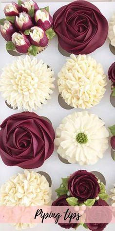 Cupcakes Flores, Flower Cupcakes, Wedding Cupcakes, Bridal Shower Cupcakes, Themed Cupcakes, Best Frosting Recipe, Frosting Recipes, Frosting Tips, Cake Decorating Techniques