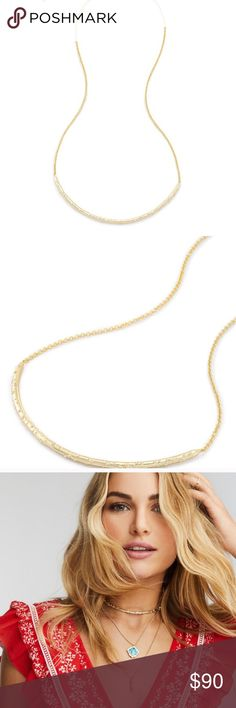 "NWT Sold Out!! Kendra Scott amber gold Choker The trend-forward yet timeless Amber Choker in Gold is a must-have this season. And with our signature sliding closure to adjust to any length, this necklace is one you will wear time and again.  • 14K Gold Plated Over Brass • Size: 4.3""L station, 28""L • Adjustable sliding bead closure • Material: cubic zirconia* Kendra Scott Jewelry Necklaces"