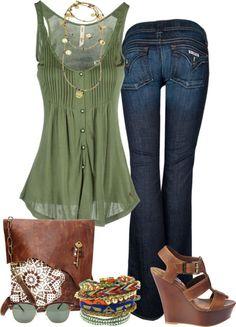 Janes, loose green top