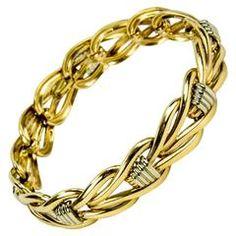 1980s Chic Two Color Gold Link Bracelet