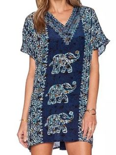 Shop Multi V-neck Tribe Elephant Pattern Short Sleeve Dress-top from choies.com .Free shipping Worldwide.$23.99