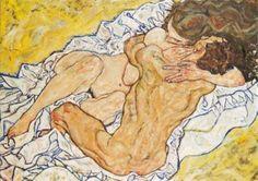 Schiele Egon; Umarmung (Liebespaar) , 1917