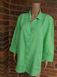 TALBOTS 100% Irish Linen Blouse Size 2X  Shirt Top Pocket 3/4 Sleeve Green #Talbots #Blouse #Casual