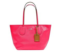 NWT COACH 34406 TAXI ZIP TOP NEON PINK LEATHER LIMITED EDITION TOTE BAG $325 #Coach #TotesShoppers