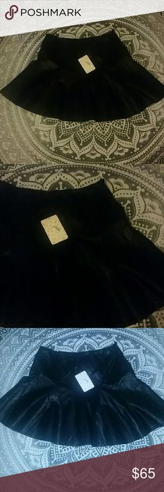 Free people vegan black leather pleated skirt 6 Nwt size 6 vegan black leather mini skirt with pleat details and zipper, runs true to size. Flash pic taken to better show pleat stitching details Free People Skirts Mini