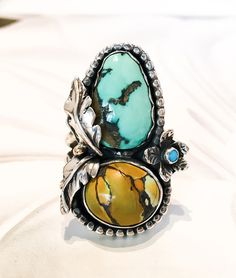 Copy of Triple Turquoise Ring in Sterling Silver with 14k gold accent // Gaia // Size 8.25