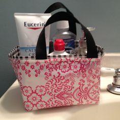Fabric Bin, Storage Bin/ Storage Basket/ Organization/ Shower Caddy/ Bathroom Organizer/ Desk Organizer in Pink Toile and Black Gingham