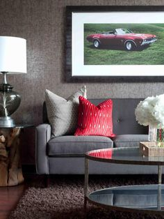 20 Pictures of Wonderful Gray Living Room Ideas, Best of Living Room, 1960s-style gray sofa with glass coffee table also red classic car picture