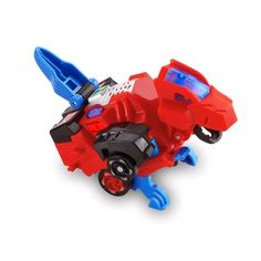 Rip and roar with the Switch & Go Dinos® Turbo T-Rex Launcher by VTech®. Includes one electronic Switch & Go Dinos® Turbo T-Rex that easily transforms from a dino to race car in a few easy steps.
