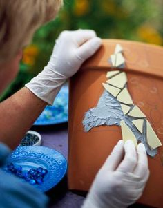 Add personality to your garden with easy mosaic projects you create from pieces of tile, pottery and glass.