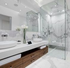 34 steps to resort decor how to bring vacation vibes home when you can't get awa… - Modern Bathroom Design Luxury, Home Interior Design, Interior Livingroom, Bath Design, Tile Design, Modern Interior, Bathroom Design Inspiration, Design Ideas, Dream Bathrooms