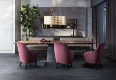 DAN Armlehnstuhl mit Holzfüßen, TANTRIX Tisch mit Mittelfuß, MILA Hängeleuchte aus Messing massiv handgeflochen by Christine Kröncke interior design