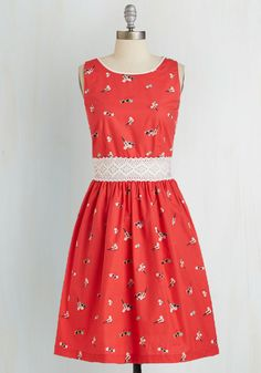 Sittin' Ditty Dress. Youre prepped for a cute and quirky afternoon outdoors in this red dress by Trollied Dolly! #red #modcloth