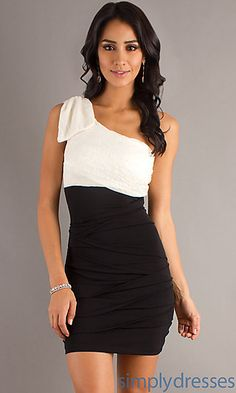 One Shoulder Two Toned Dress at PromGirl.com