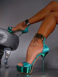 aqua and silver stilettos