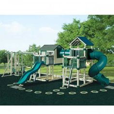 Swing Kingdom Tunnel Escape Playhouse Vinyl Swing Set in White & Green Playground Rubber Mulch, Kids Outdoor Playground, Playground Safety, Backyard For Kids, Playground Ideas, Playground Design, Backyard Ideas, Garden Ideas, Swing Set Plans