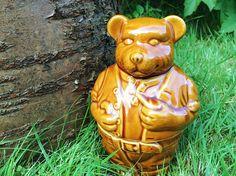 Vintage bear honey pot / teddy bear honey jar / ceramic honey