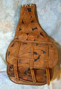 carved Leather saddle bag