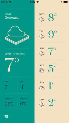 Forecast - Yet Another Weather App Design Patterns - Pttrns Mobile Design Patterns, Mobile Ui Design, App Ui Design, Pattern Design, Web Layout, Layout Design, Bus App, Logo Inspiration, Mobile App
