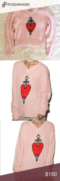 Wildfox King of Hearts Sweater💘 Rare Wildfox Couture White Label v-neck Sweater featuring a dagger heart graphic. Cute baby pink color. Great condition, no flaws. Wildfox Sweaters V-Necks