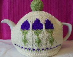 Scottish thistle hand knitted tea cosy - etsy