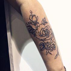 Flowers tattoo. Arm tattoo. Line work. by Ana Maturana