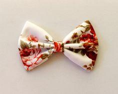 "4.25"" floral fabric hair bow, hair bow clip, cotton hair bow, cottage chic, teens hair bow, girls hairbow, women hair bow, floral hair bow"