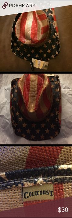 NWT-Peter Grimm Old Glory Cowboy hat. A true American Cowboy Hat. This brand new is comprised of 100% woven fiber with a fabric inside band for comfort. The hat has a lacquer finish to help hold its form. The band outside the hat is a tan leather band with brass stars and ties in the back of the hat. The hat is so cute I had to keep it ;) Goldcoast  Accessories Hats