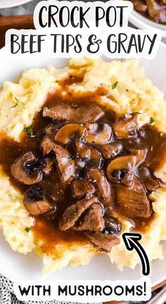 Beef Tips Slow Cooker, Crock Pot Beef Tips, Beef Tip Recipes, Beef Casserole Recipes, Stew Meat Recipes, Beef Recipes For Dinner, Crockpot Recipes Beef Tips, Cooker Recipes, Beef And Mushroom Recipe