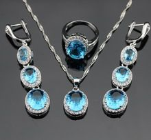 Round Blue Topaz Sterling Silver Jewelry Sets For Women Zircon Necklace Pendant Rings Long Drop Earrings Free Jewelry Box(China (Mainland))