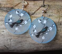 HandDrawn Blue Bird Shrink Art Earrings  by olivejuiceportland, via Etsy
