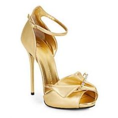 57% off Giuseppe Zanotti - Sandals Safety Pin High-Heel Metallic Leather Gold - $499.99