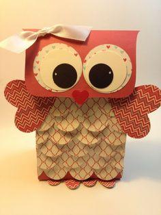 Baby shower favors. Owl Valentine Box | Owl Valentine Gift Bag