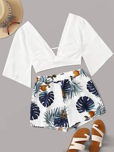 To find out about the Tie Back Deep V Neck Top With Tropical Print Shorts at SHEIN, part of our latest Two-piece Outfits ready to shop online today! Cute Comfy Outfits, Cute Girl Outfits, Teenage Outfits, Cute Summer Outfits, Outfits For Teens, Stylish Outfits, Matching Outfits, Girls Fashion Clothes, Summer Fashion Outfits