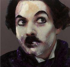 Lita Cabellut - Contemporary Artist - Behind the curtains, Chaplin