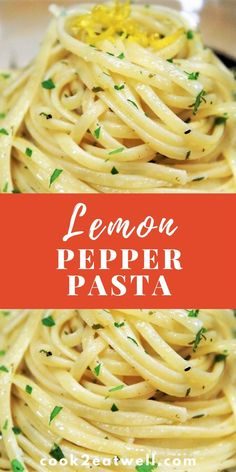 pasta recipes In this lemon pepper pasta recipe, linguine noodles are tossed with a light, lemony, black pepper sauce. The pasta is simply garnished with lemon zest and chopped parsley for an easy, delicious dinner. Pasta Recipes Linguine, Lemon Pasta Sauces, Recipes With Pasta Noodles, Delicious Pasta Recipes, Lemon Butter Sauce Pasta, Olive Oil Pasta Sauce, Cream Cheese Pasta Sauce, Pasta Recipes For Dinner, Lemon Recipes Dinner