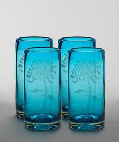 Turquoise Peony Highball Tumbler Set. By Vivaz.