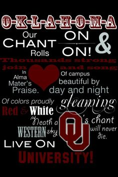 Boomer Sooner!  I get chills every time I hear this.  It is as beautiful as the time I spent on campus. - Live on University, indeed.