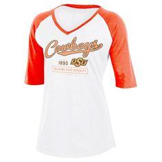 NCAA Oklahoma State Cowboys Women's Fashion V-Neck Raglan T-Shirt - XL,