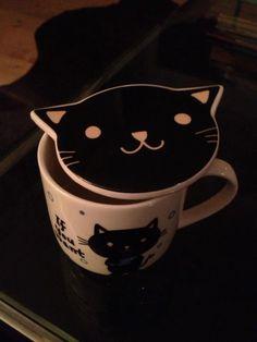 Cat Cup w Cat Face Cover/Coaster.