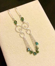 Sterling silver dangling earrings handmade with crystal beads by HoneyMoonNYC on Etsy