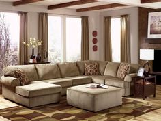 Stylish Brown Living Room Design with Sectionals