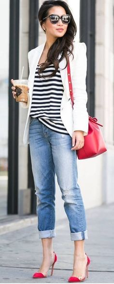 Fashion for the Modern Mom: White Stripes, Denim and a Pop Of Red! Such a cute look.