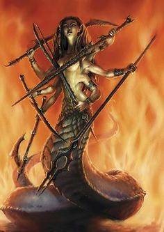 Tiamat, Chaldean snake goddess, mother of hydras, gorgons, sirens, and snakes.