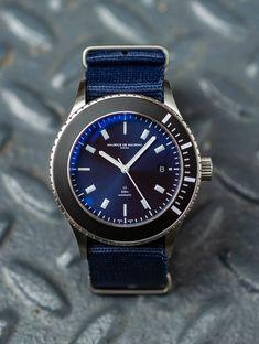 Swiss luxury watch for men designed by Fabian Schwaerzler and handcrafted in Zurich by Maurice de Mauriac. Photo: Hodinkee #swissmadeluxurywatches #luxurywatches #watchesformen #waterresistantwatch