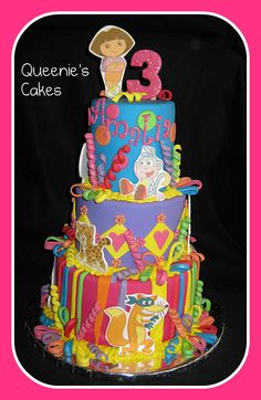 Dora, holy mother of cakes. How many friends can a 3 year old have that they need a 3 tier cake?